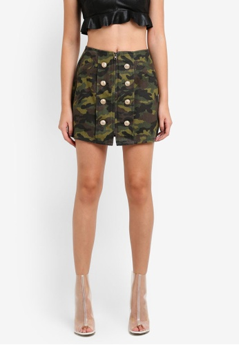 Something Borrowed green Printed Mini Skirt 477C0ZZ0473A4CGS_1