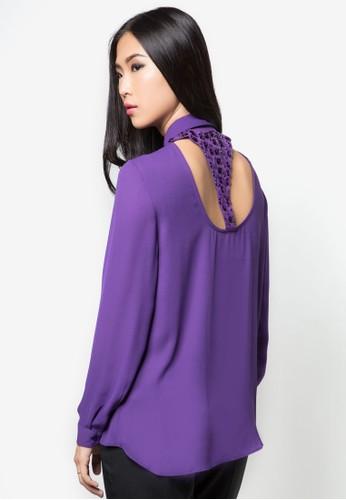 背部閃飾鏤空長袖襯衫, 服飾zalora 鞋評價, 服飾