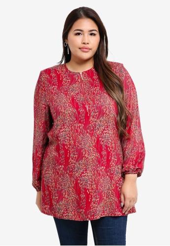 BYN red Plus Size Muslimah Blouse D5233AA7B90DD6GS_1