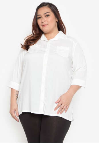 d935437fc8b1a Shop Maxine Plus Size 3 4 Sleeves Rayon Shirt Online on ZALORA ...