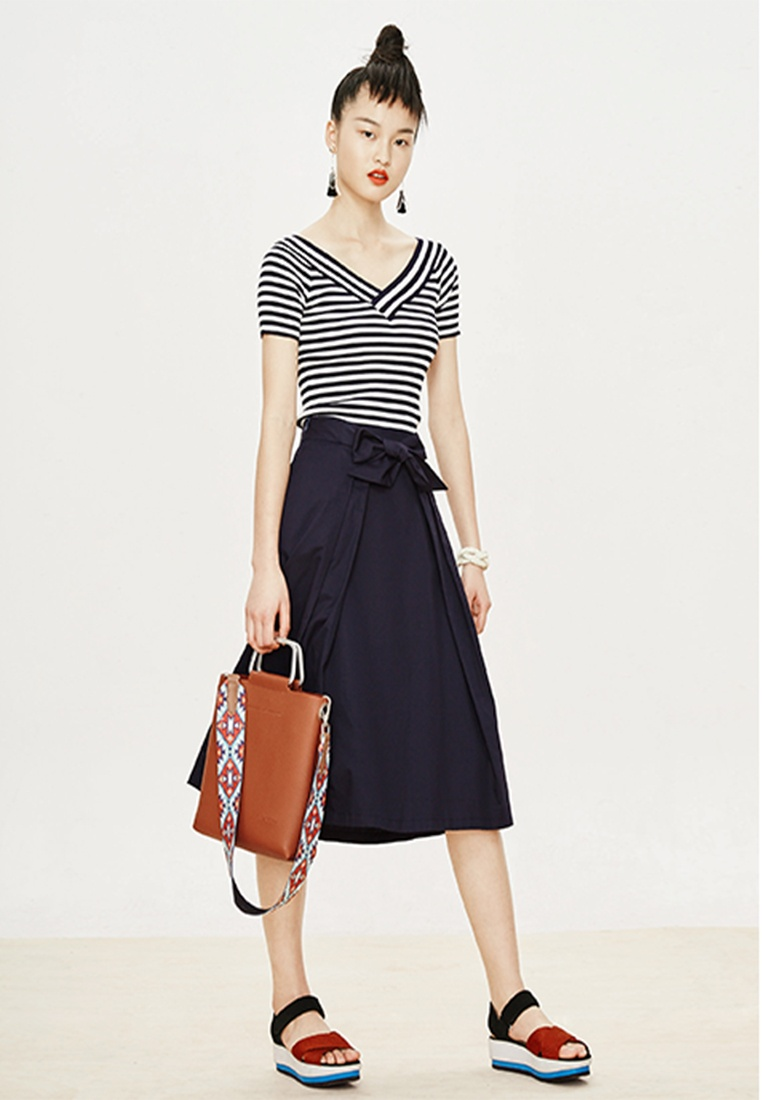 Blue Tie with Long Skirt Midi Hopeshow Belt Navy F0PwxIq