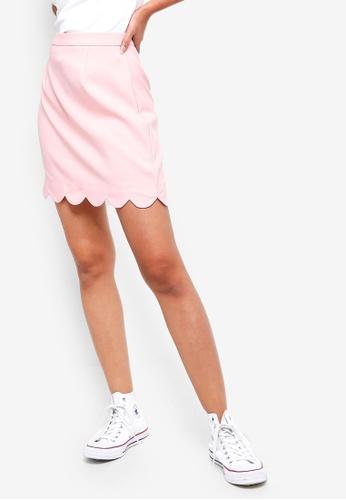 ZALORA BASICS pink Basic Scallop Hem Mini Skirt 2A55CAA5818F17GS_1