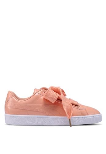 Puma orange Sportstyle Prime Basket Heart Patent Shoes 152E3SH5B5F867GS_1