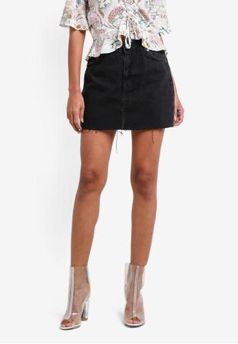 TOPSHOP black PETITE Straight Seam Raw Hem Skirt TO412AA0RY3SMY_1