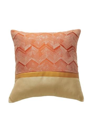 DILAS HOME orange Gold Striped Jacquard Cushion Cover (Orange) 29A60HL381D135GS_1