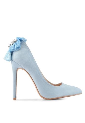 Velvet blue Embellished Heels F832ESH1C205DBGS_1