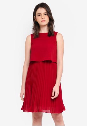 ZALORA red Pleated Bottom Dress 31B40AA775B851GS_1