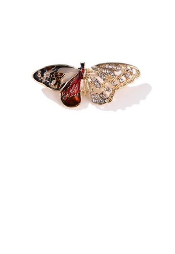 Glamorousky white Fashion and Elegant Plated Gold Red Butterfly Brooch with Cubic Zirconia BC276AC46D1B39GS_1