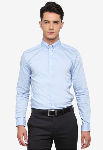 Burton Menswear London blue Blue Slim Fit Sateen Pin Shirt C1CEAAA446E653GS_1