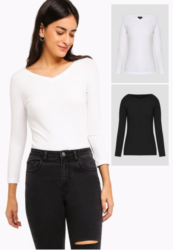 d13a5f28f4d61e ZALORA BASICS black and white 2 Pack Basic Wide V-Neck Raglan Top  ZA274AA0LF1SSG 1
