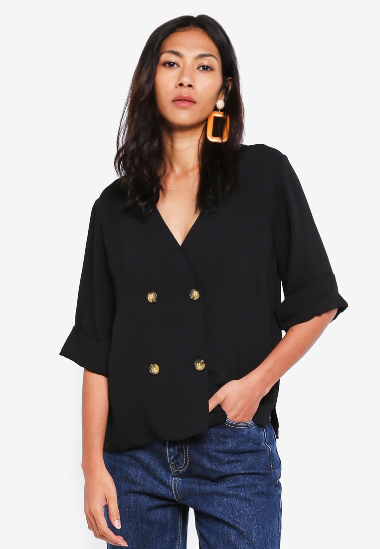 Black Perkins Dorothy Top Wrap Black Double Breasted 7ZZzqa