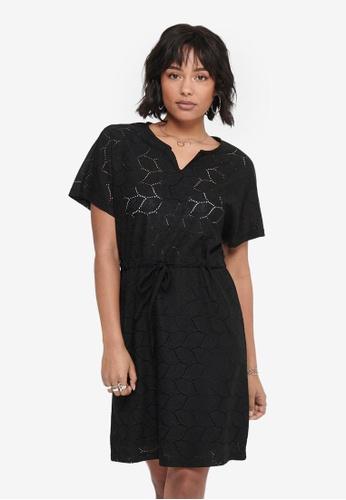 JACQUELINE DE YONG black Tag Short Sleeve Belt Dress 44985AAB7D09C0GS_1