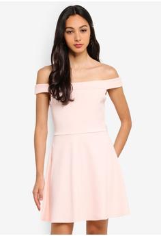502462e2d01d MISSGUIDED pink Bardot Skater Dress 51375AA5001F81GS_1