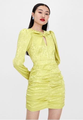 Pomelo green Ruched Long Sleeve Dress - Green 8CDAFAAEB2B0ADGS_1