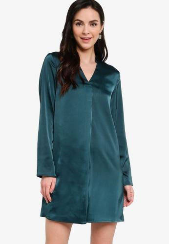 ZALORA WORK 綠色 綢緞長袖洋裝 8EF95AA0E4E031GS_1