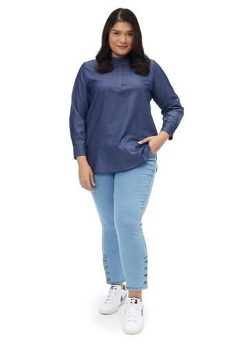 MS. READ 藍色 MS. READ Nehru Collared Shirt 22F97AA29A192CGS_1
