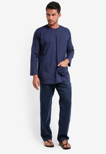 Lubna blue Stripe Baju Melayu Teluk Belanga 39893AA80439A6GS_1