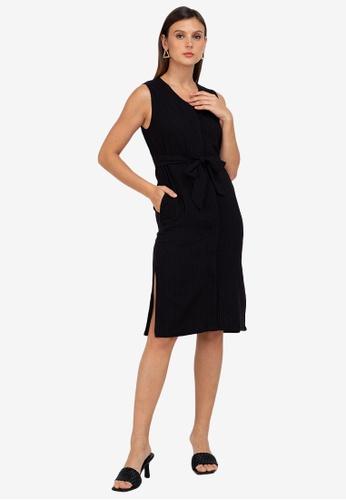 ZALORA WORK black Sleeveless Midi Dress 6C486AA74B6D1BGS_1