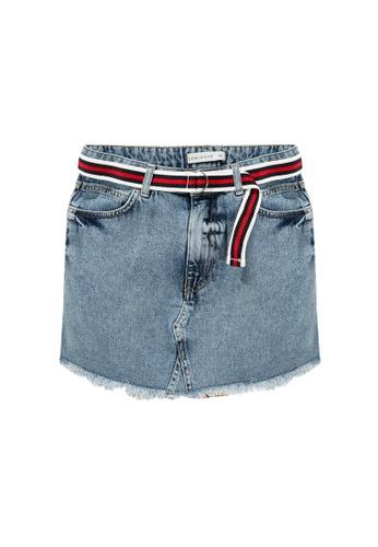 LC Waikiki blue Belted Denim Mini Skirt 035E1AA1B21A7DGS_1