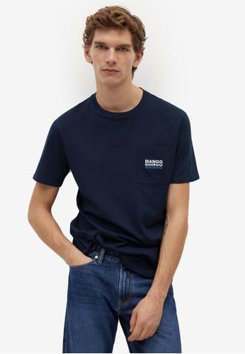 Mango Man blue Logo Pocket T-Shirt EE947AAC06A760GS_1