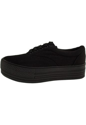Maxstar 黑色 新款韩国鞋C40-5H時尚帆布布混合女黑色 US Women Size MA345SH67HGATW_1