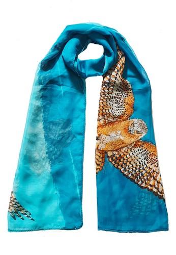 San Marco blue and multi Bohemian Owl Silk-Feel Scarf Blue 8FCC0AA26C216DGS_1