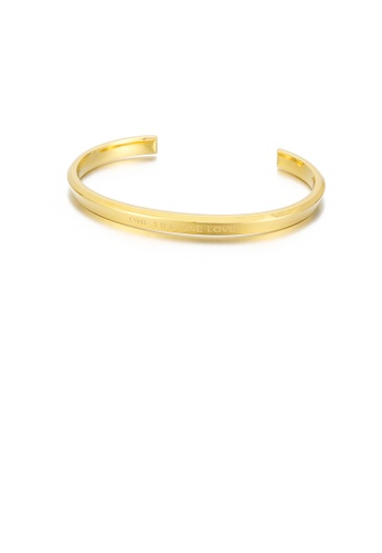 Glamorousky silver Fashion and Simple Plated Gold Geometric Round 316L Stainless Steel Open Bangle 717D6AC26358B4GS_1