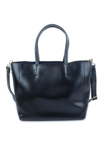 BELLE LIZ black Leather Classy Ladies Tote Shoulder Handbag Black D7F6AAC82DE233GS_1