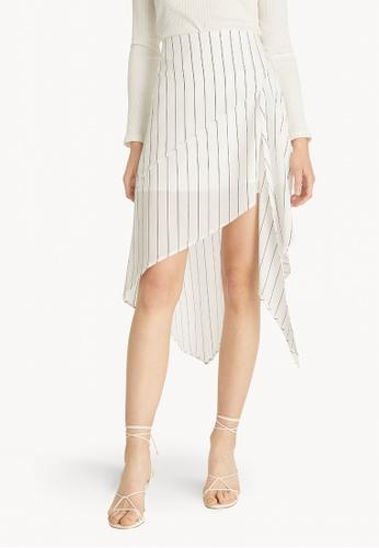 Pomelo white Stripe Asymmetric Dress - White 600C0AAAE4339EGS_1
