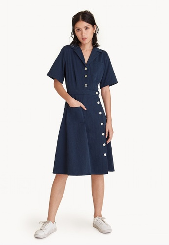 Pomelo navy Over The Knee Button Up Dress - Navy B4255AAE9B3F43GS_1