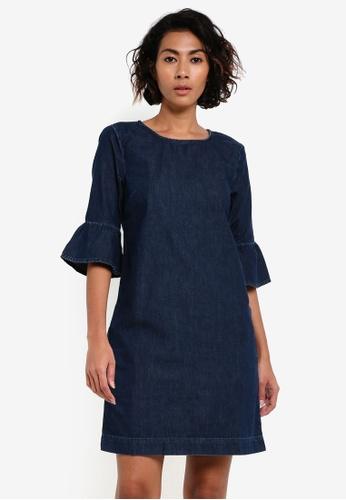Miss Selfridge blue Denim Flute Sleeve Shift Dress MI665AA0RV1PMY_1