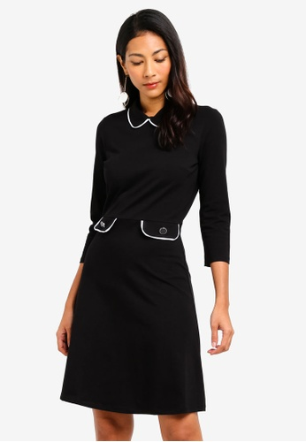 Dorothy Perkins 黑色 Black Piped Collar Fit And Flare Dress AF0BBAAC24D726GS_1