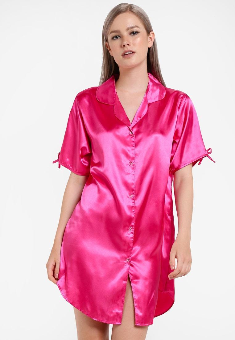 Satin Fuschia Dress Pink Shirt Impression Pajama Np0awraqu