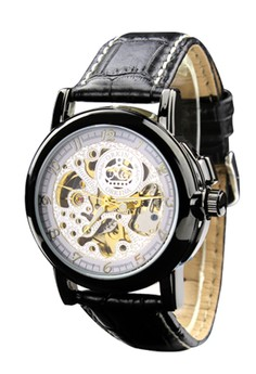 Business Fashion Skeleton Dial Automatic Men's Leather Strap Wrist Watch