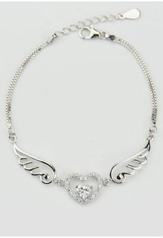 【ZALORA】 J170852 S925 銀飾天使的翅膀白色鋯石手鏈-銀色