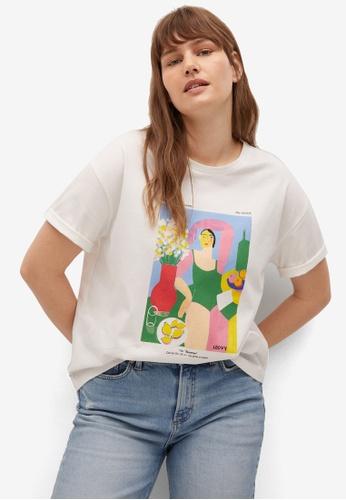 Violeta by MANGO white Plus Size Women's Day T-Shirt 80D24AA0A90102GS_1