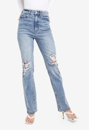 H&M blue Bootcut High Jeans 58FD1AAFF0E54DGS_1