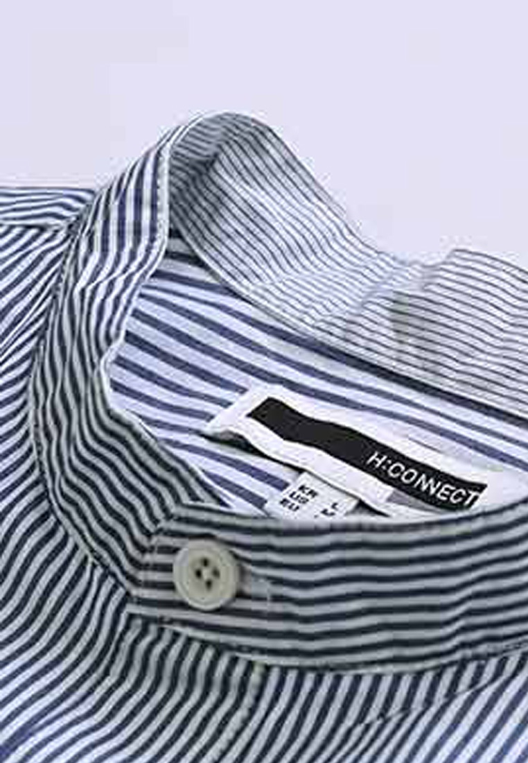 Striped Blue Shirt H Henley Collar CONNECT BwxUqAXC5n