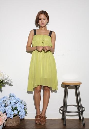 Shopsfashion green Chiffon Flare Dress KO361AA34PTTSG_1