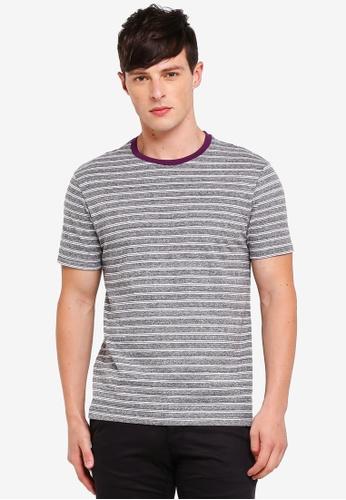 Burton Menswear London 紫色 條紋印花T恤 0170DAAC5A2858GS_1