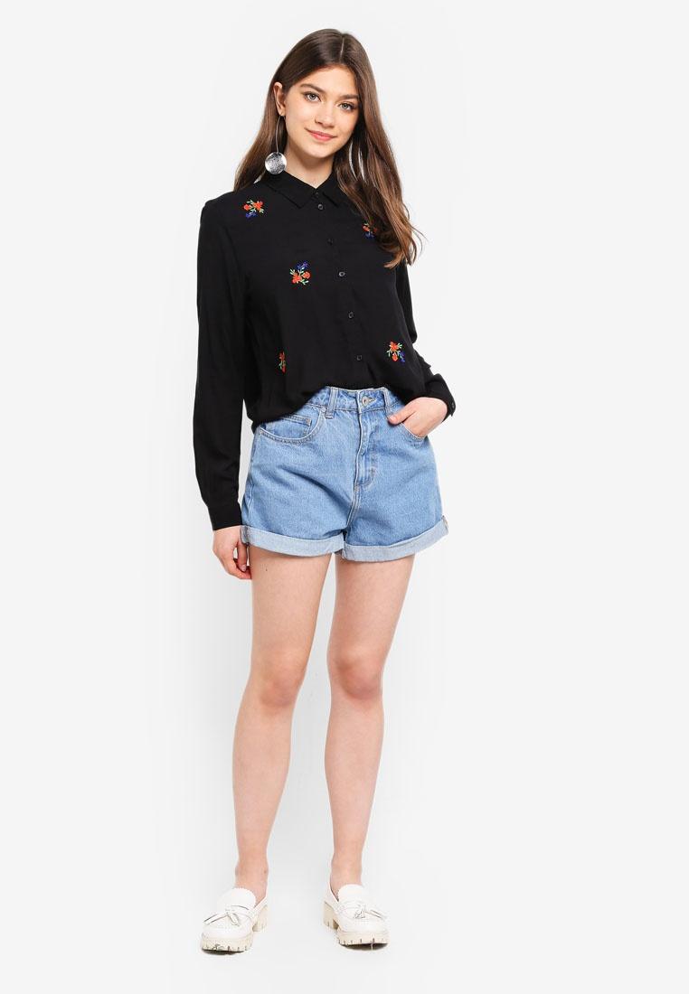 DE L JACQUELINE Shirt Embroidery Fannie S Embroidered YONG Black Flower 1wvHq6
