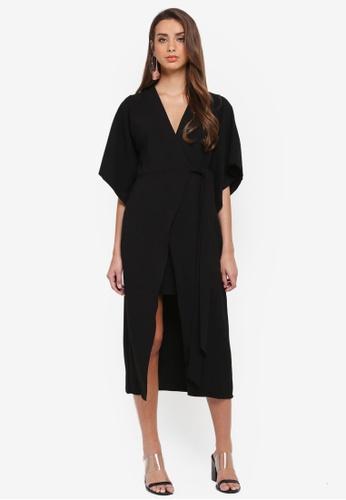 River Island black Wide Sleeve Midi Dress A91EFAA7B5AB47GS_1
