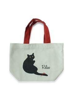 Relax Black Cat Mini Lunch Tote Bag