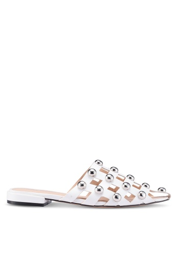 Public Desire white Prophecy Studs Detail Point Toe Flat Mules 6CB1FSHEA17786GS_1
