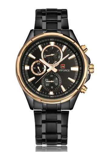 NAVIFORCE black Naviforce Chronograph Gold and Black Stainless Steel Watch 0F911ACF0FA50FGS_1
