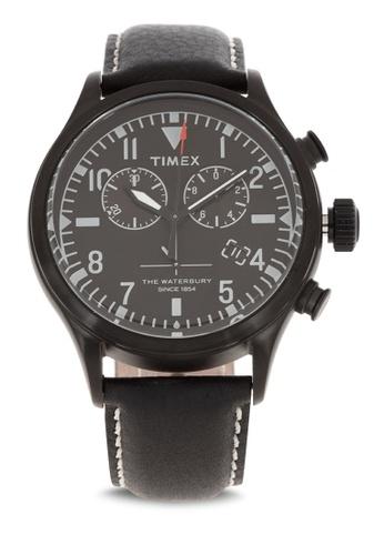 TIMEX black Waterbury Chrono Leather Watch EE244AC1A77939GS_1