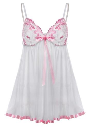 SMROCCO white Isabelle Plus Size Nightie Sleepwear PL8013 SM066US0S060MY_1