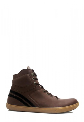 D-Island brown D-Island Shoes Casual Sneakers England PU Leather  Cokelat Tua 33758SHAF7157BGS_1