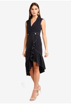 bbd81231485 75% OFF BYSI Pinstripe Ruffle Wrap Dress S  96.00 NOW S  23.90 Sizes M
