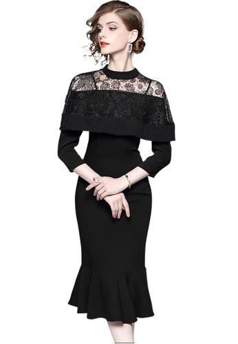 Sunnydaysweety black F/W New Lace Stitching Black One Piece Dress UA120503 98DF8AA0923B27GS_1